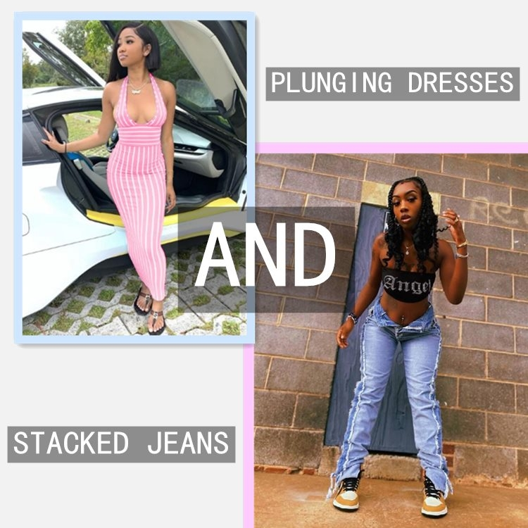 Jurllyshe plunging dresses and stacked jeans