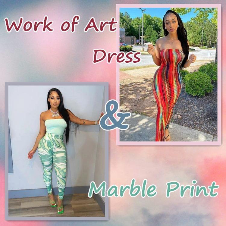 Work of Art Dress and Marble Print on Jurllyshe