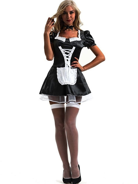 JurllyShe Halloween Cosplay Sexy Maid Costume Dress