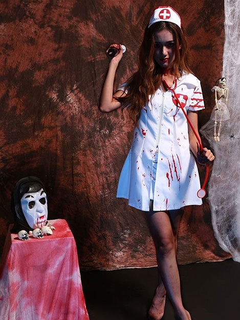 JurllyShe Halloween Zombie Blood COS Vampire Nurses Dress