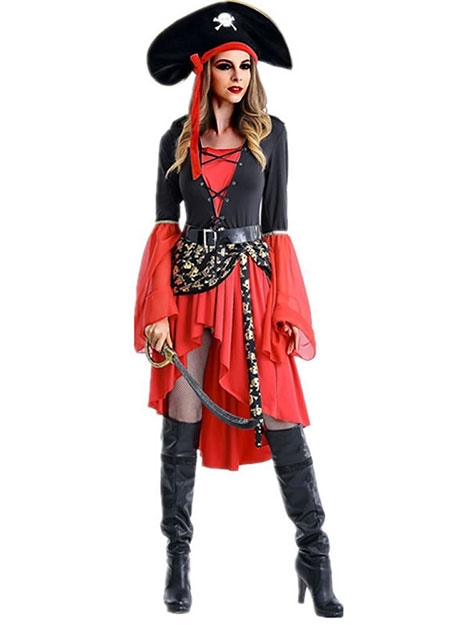 Jurllyshe Halloween Female Pirate Game Uniform Cosplay Dress