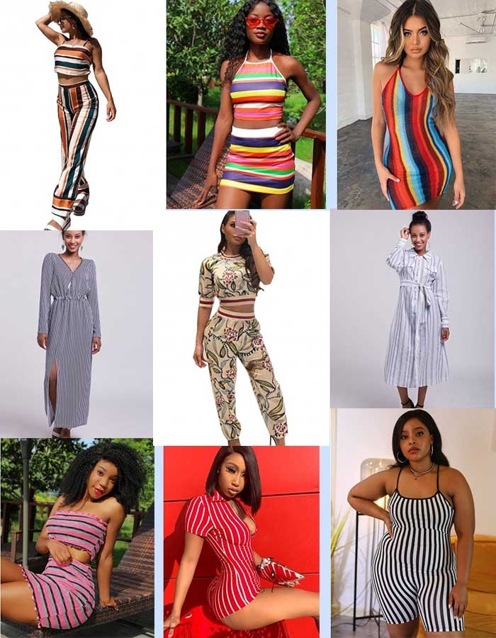 africanmall hot sale stripe outfits