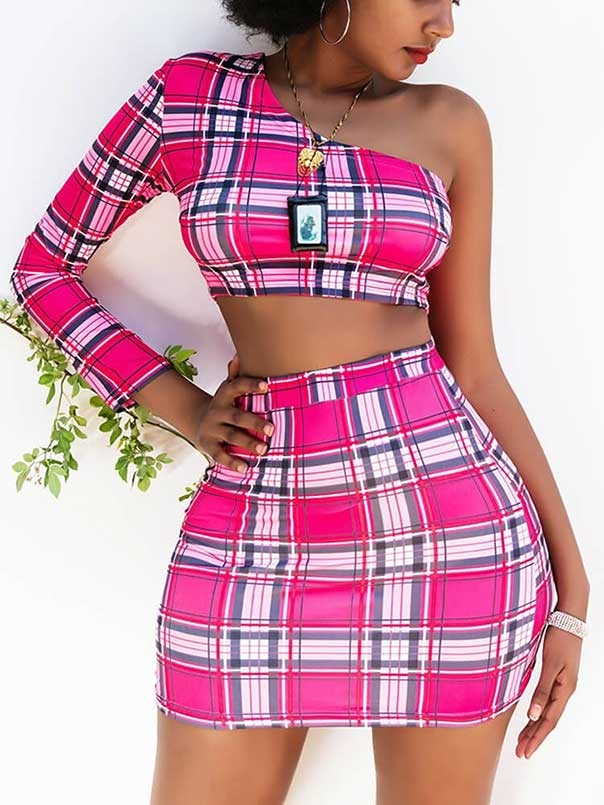 one sleeve plaid crop top and skirt set