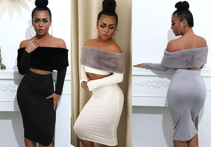 Off The Shoulder Fur Collar Crop Top And Skirt Set