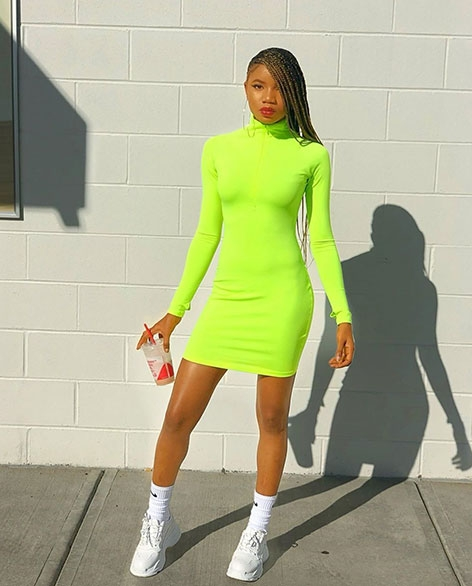 neon dress long sleeve bodycon dress