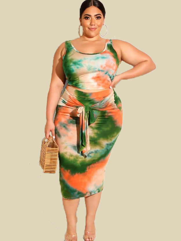 plus size tie dye skirts set