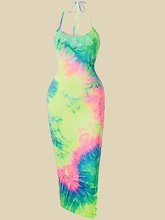 full length tie-dye dress