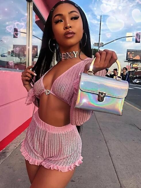 pink two piece crop top and short set