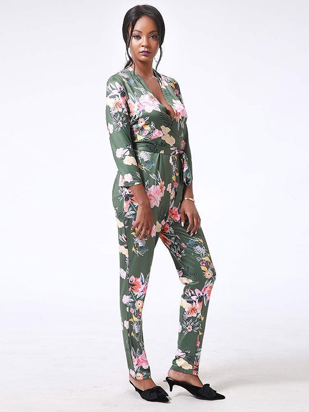 JurllyShe Women Magnificent Floral Print Neckline Sashes Jumpsuit