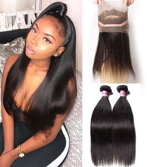 360 lace frontal with 2 bundles human hair