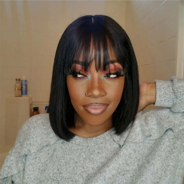 Bob Straight Lace Frontal Wigs With Bangs
