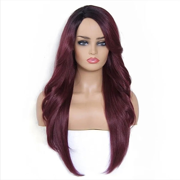 Body wave and straight hair mixed synthetic wig