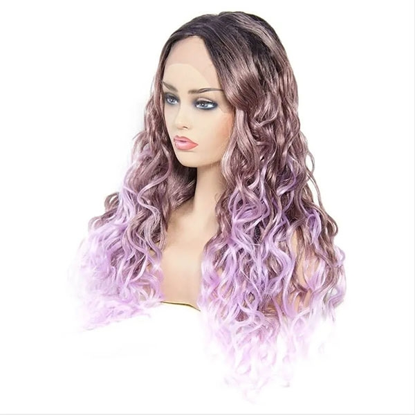 Ombre purple body wave synthetic lace front wig