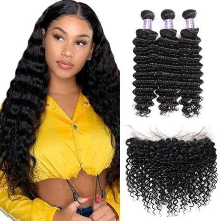 deep wave hair bundles with frontal closure