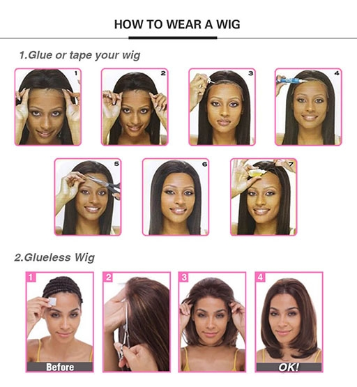 how to put on a lace front wig with glue