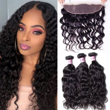 natural wave hair bundles with frontal closure