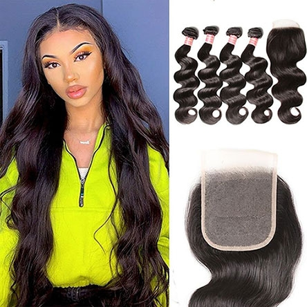 straight hair weave with lace closure