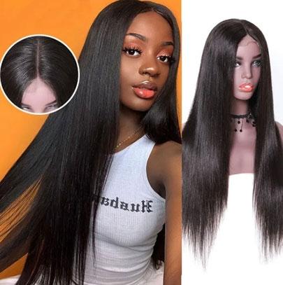 straight long human hair wig