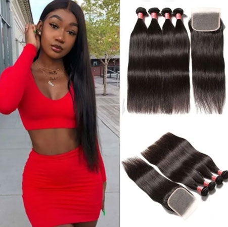 Straight free part lace closure