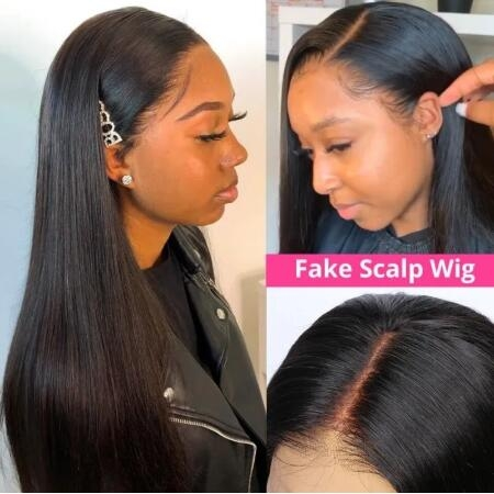 straight fake scalp lace wig