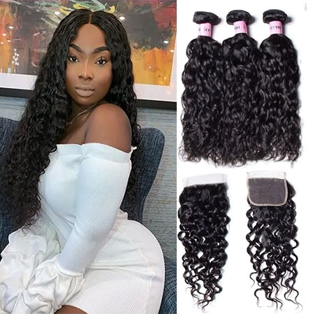 Water wave free part lace closure