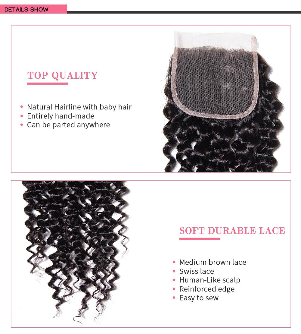 Virgin Human Hair 4X4 Curly Lace Closure