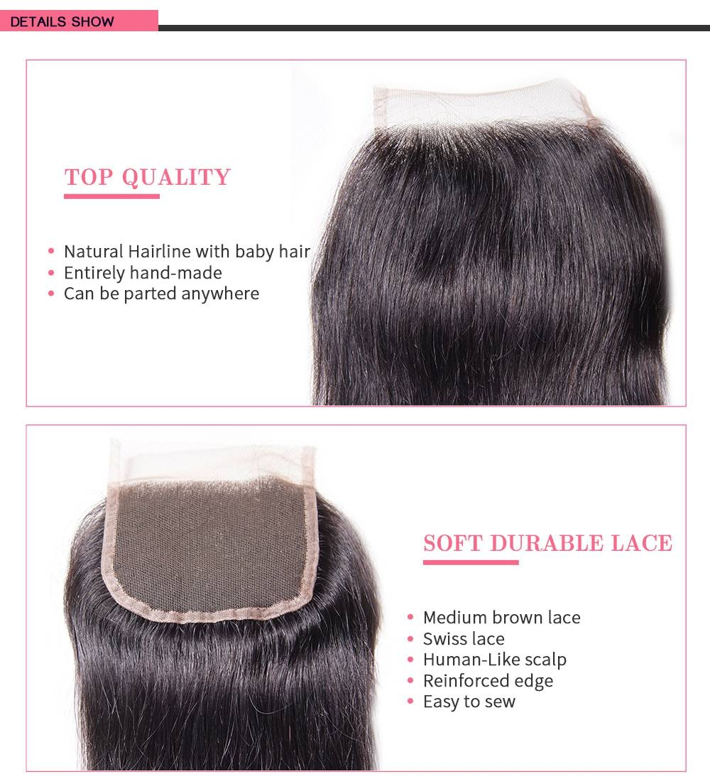Straight Closure Virgin Human Hair Lace Closure