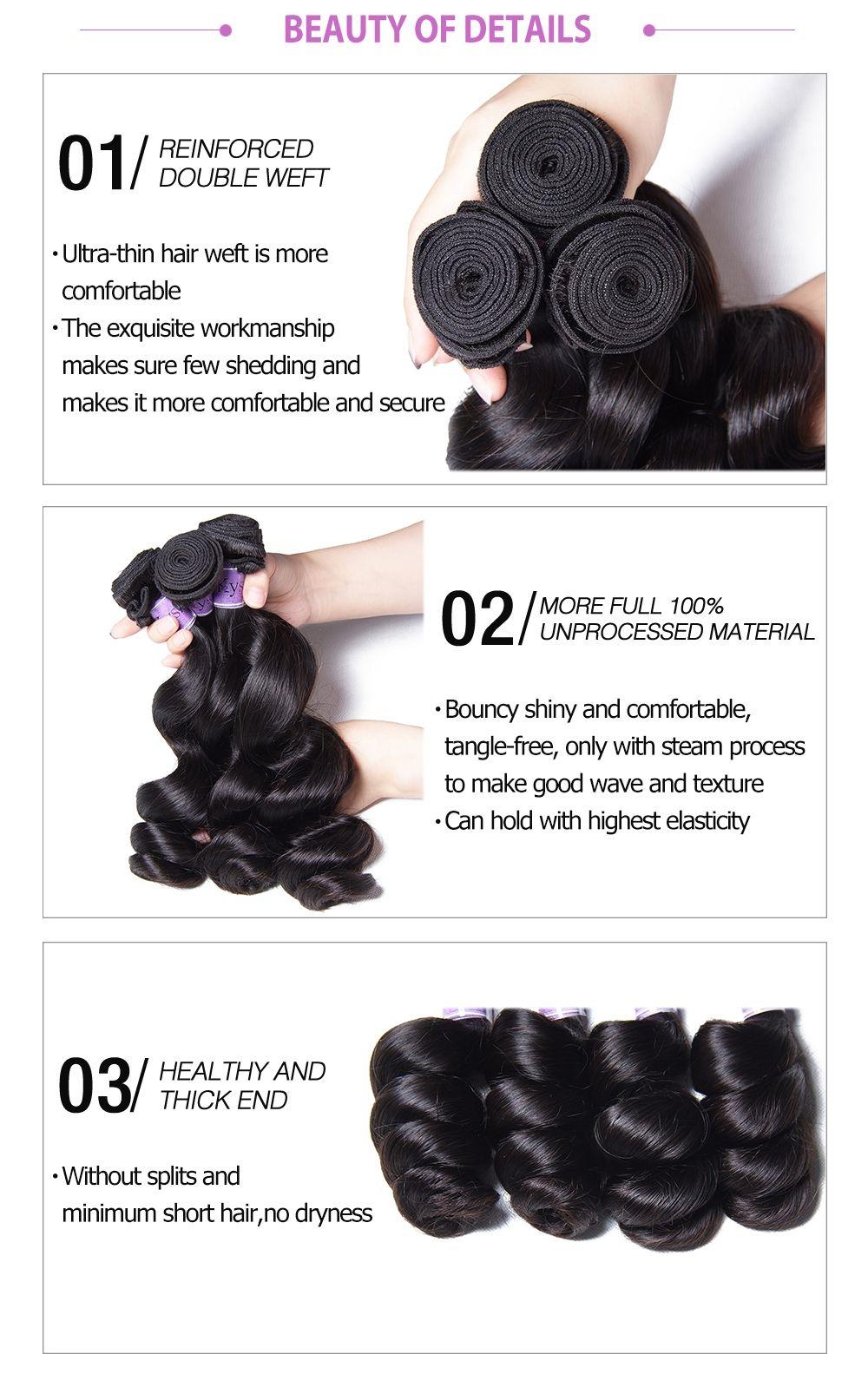 Long Lasting Loose Remy Human Hair Weft Bundles 4