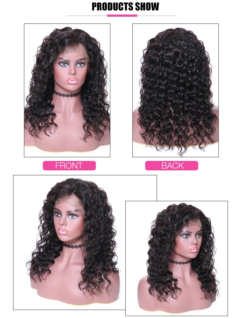 AfricanMall Lace Front Deep Wave  Human Hair Wig With Baby Hair