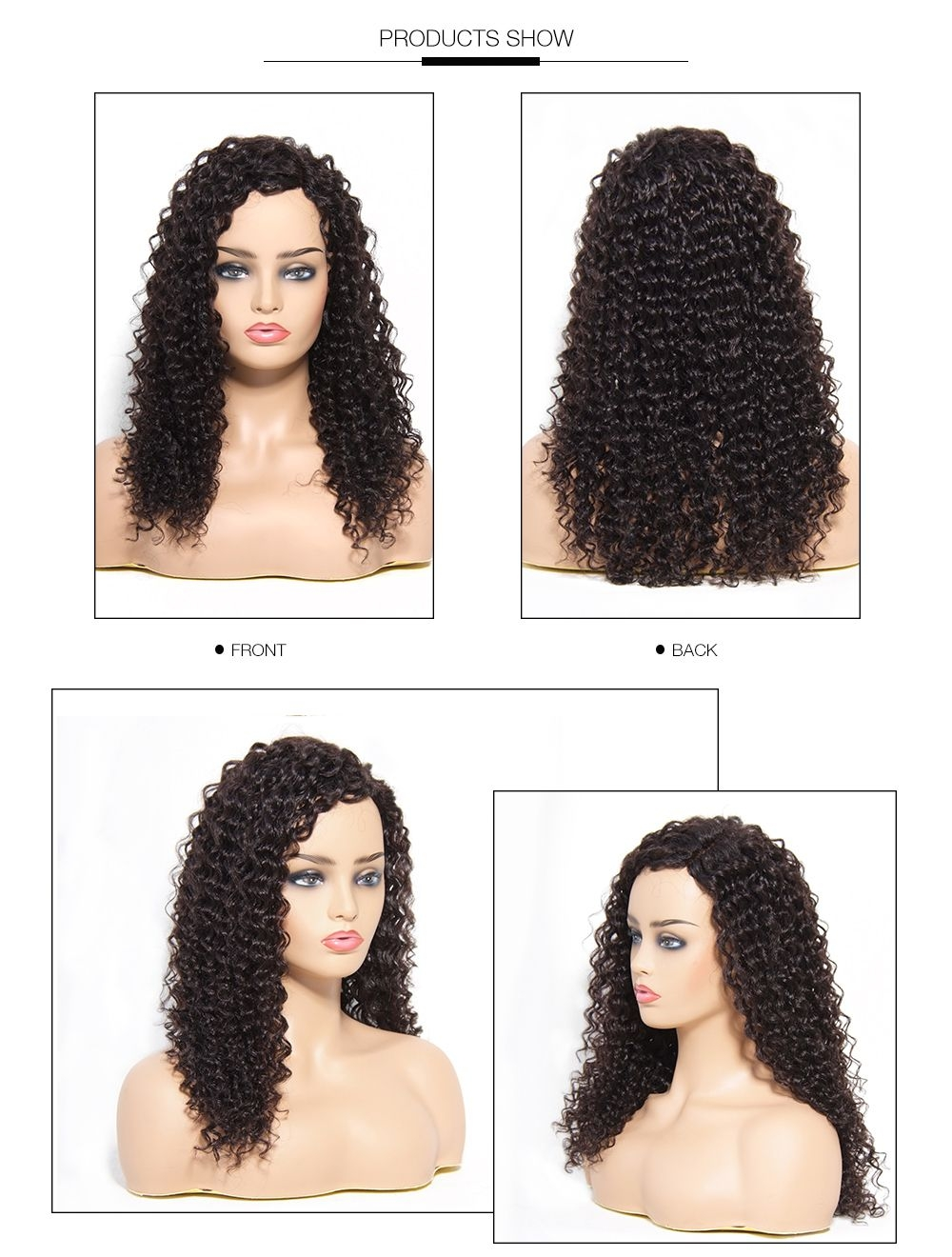 UNice Unprocessed Curly Wave Brazilian Hair Front Lace Wig